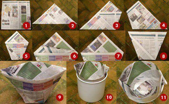 Dobre jornal e faça um recipiente.
