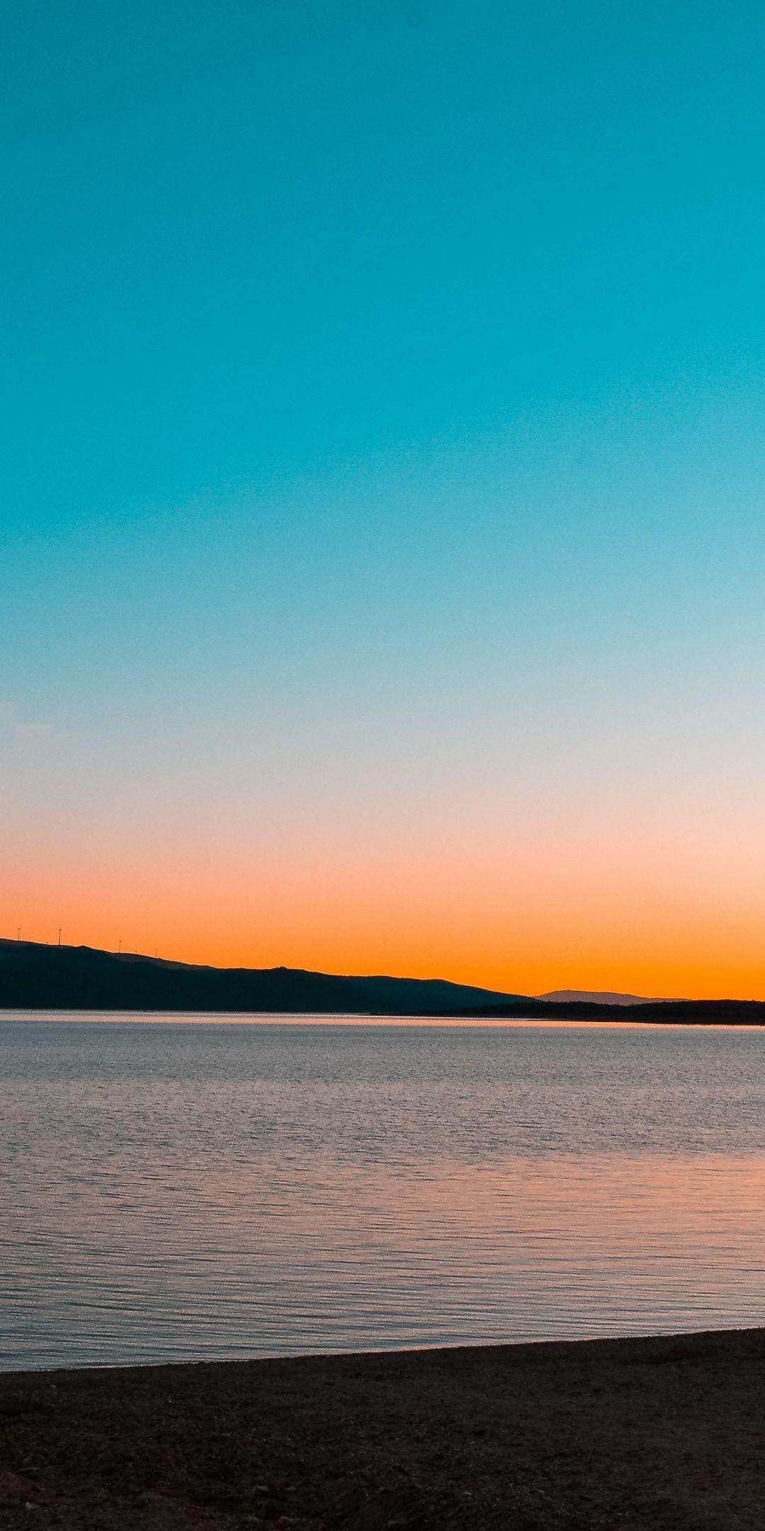 Calm and adorable sky, lake, sunset, nature, 1080x2160