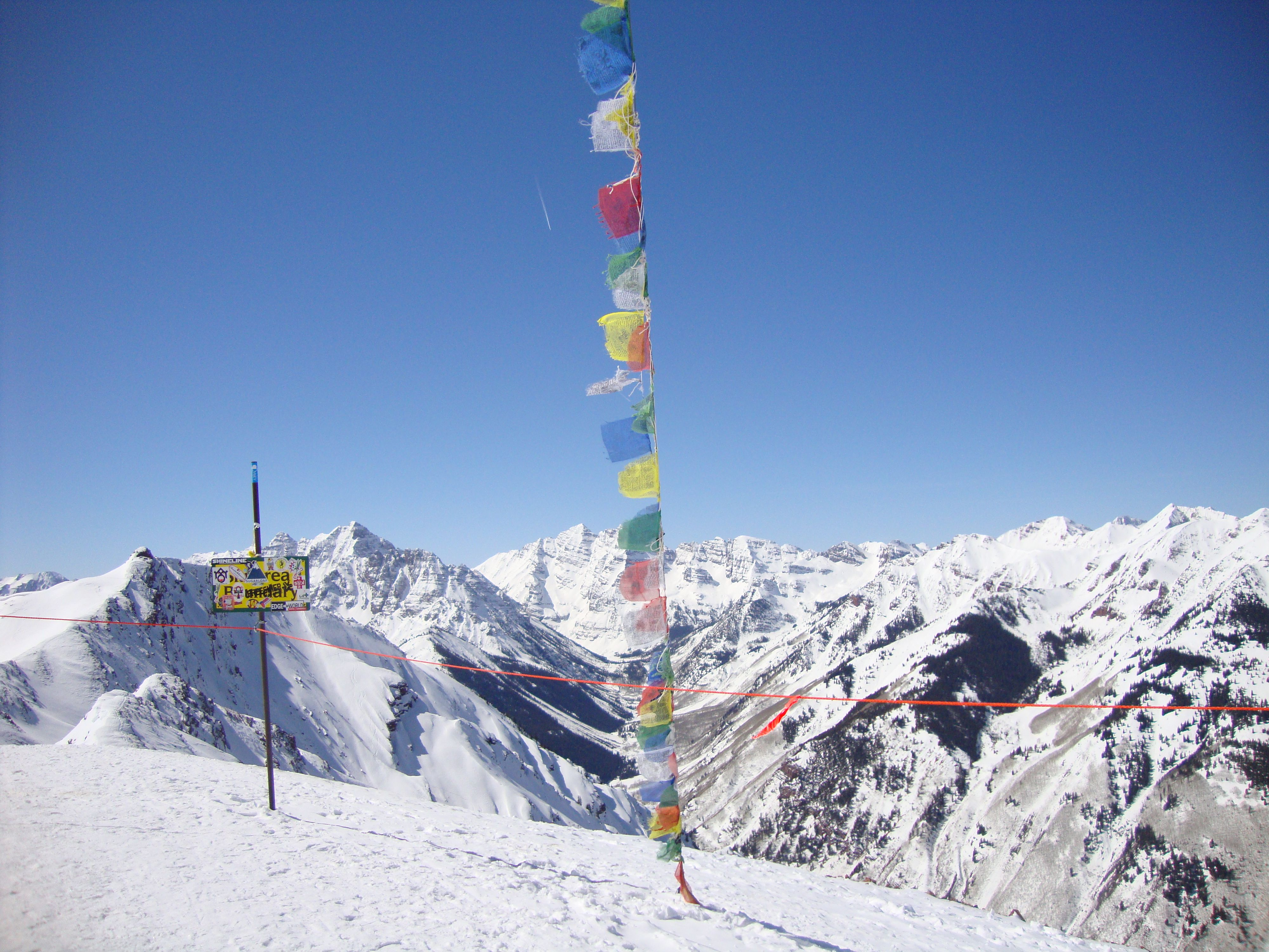 Prayer flags at summit of Aspen Highlands, Coloado