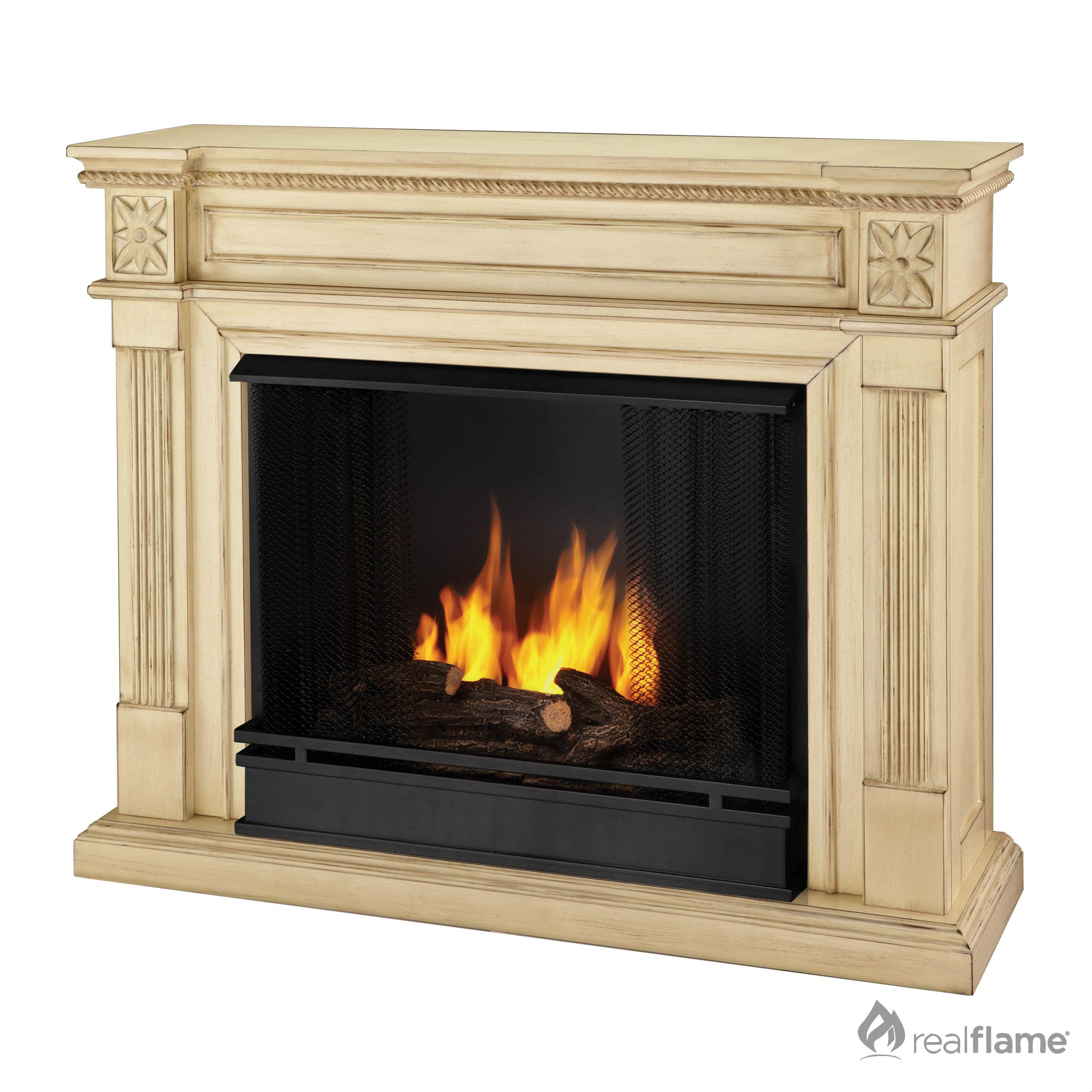 real flame gel fuel antique white fireplace solid wood veneer