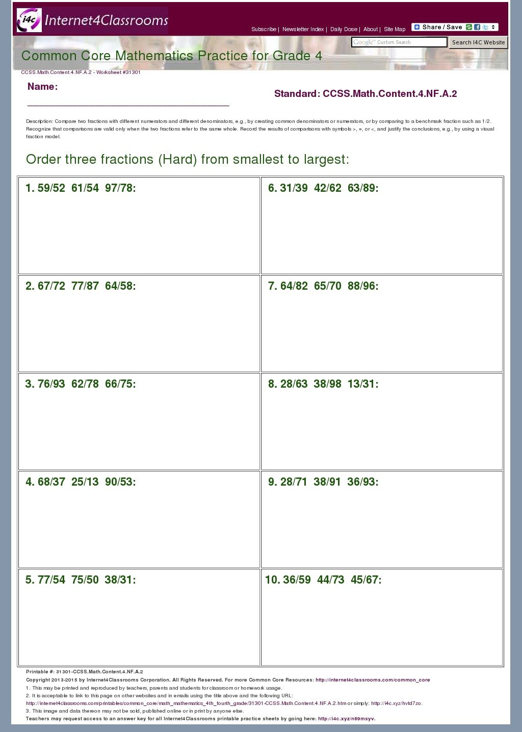 4th Grade Order Three Fractions Hard From Smallest To