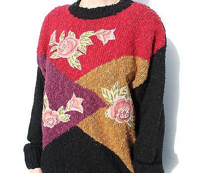 Vintage 80s Black Beaded Applique Embroidered Floral Oversized Jumper Free Size