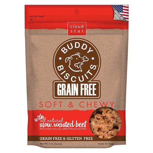 Cloud Star Grain Free Soft and Chewy Buddy Biscuits Dog Treats, Slow Roasted Beef, 5-Ounce $4.99 (28% OFF)