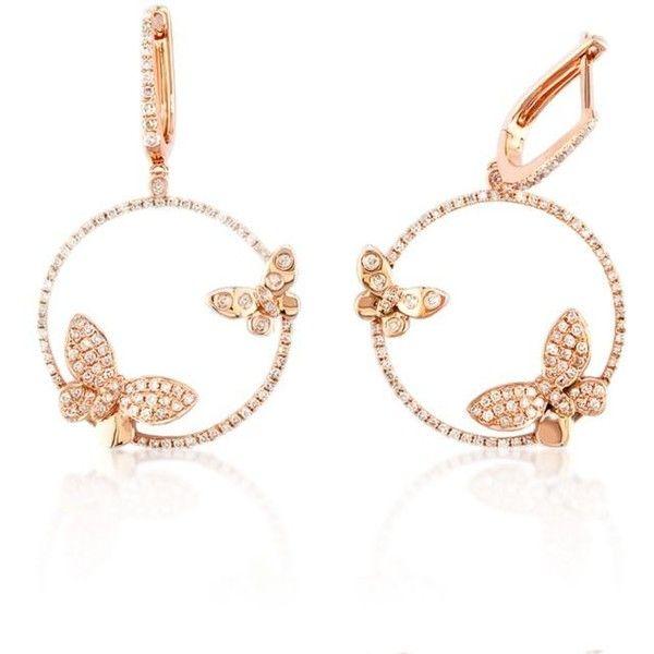 Effy Rose Gold Diamond Butterfly Hoop Earrings In 14K Rose Gold 2