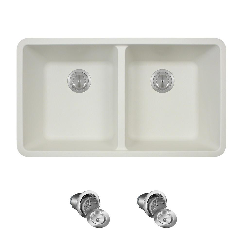 Mr Direct All In One Undermount Quartz 32 5 In 0 Hole Double Bowl