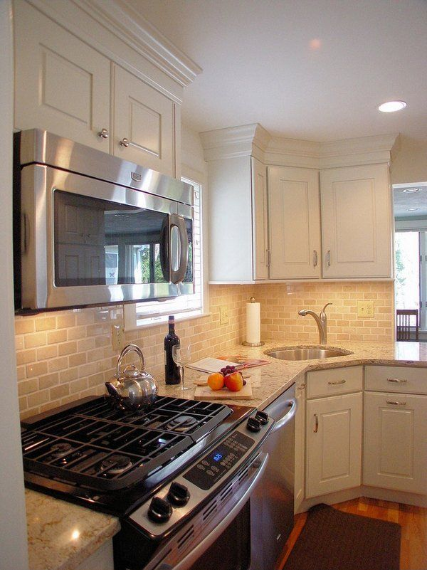Corner Kitchen Sink Efficient And Space Saving Ideas For The Kitchen Kitchen Remodel Small Small Kitchen Small Kitchen Sink