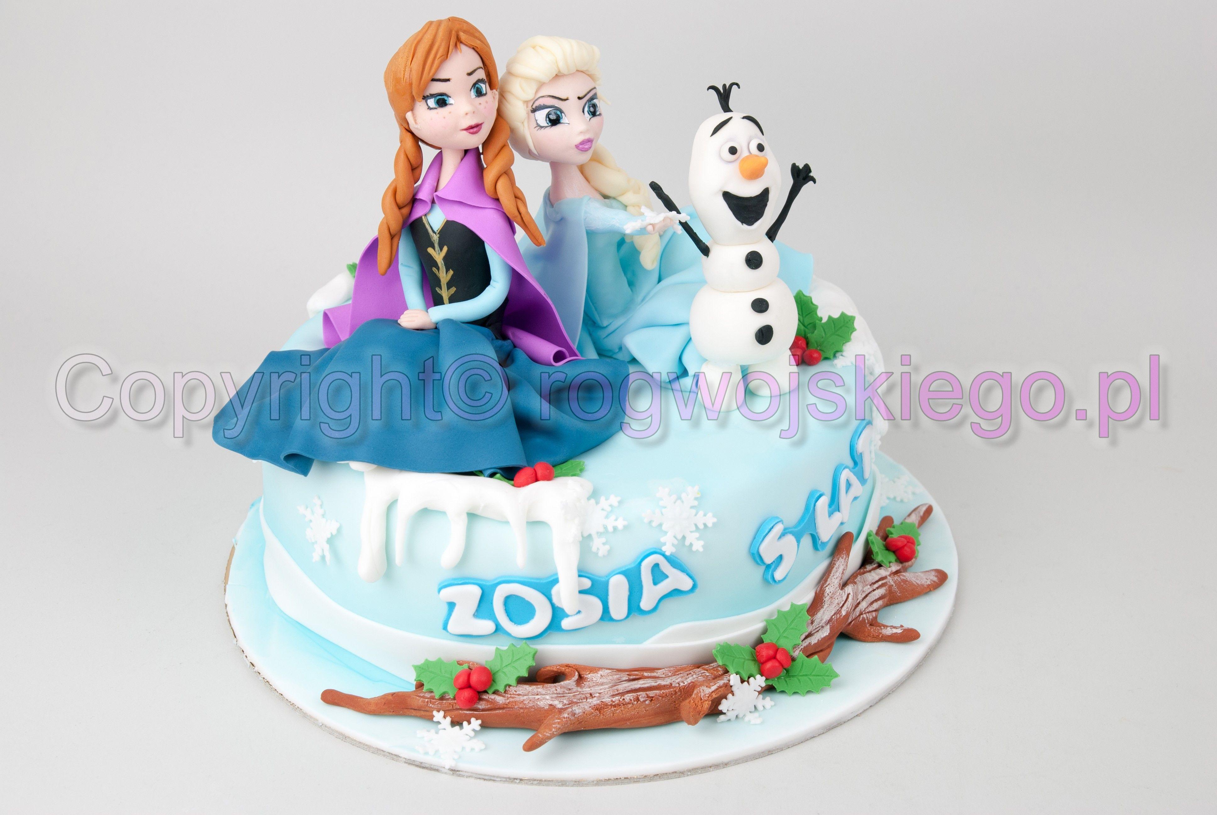 Tort Frozen Kraina Lodu Anna Elza Balwanek Mrozone Ciasto Tort Desery