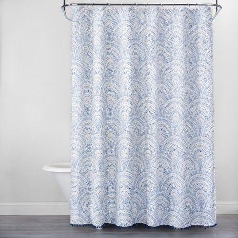 Scallop Stitch With Pom Fringe Shower Curtain Blue White