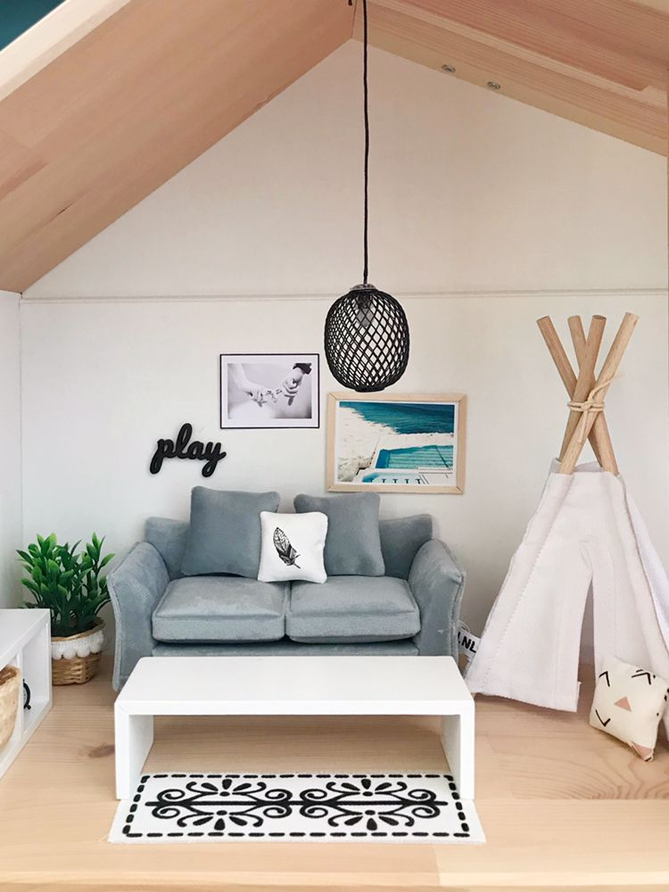 modern dollhouse boho living room with teepee  pretty