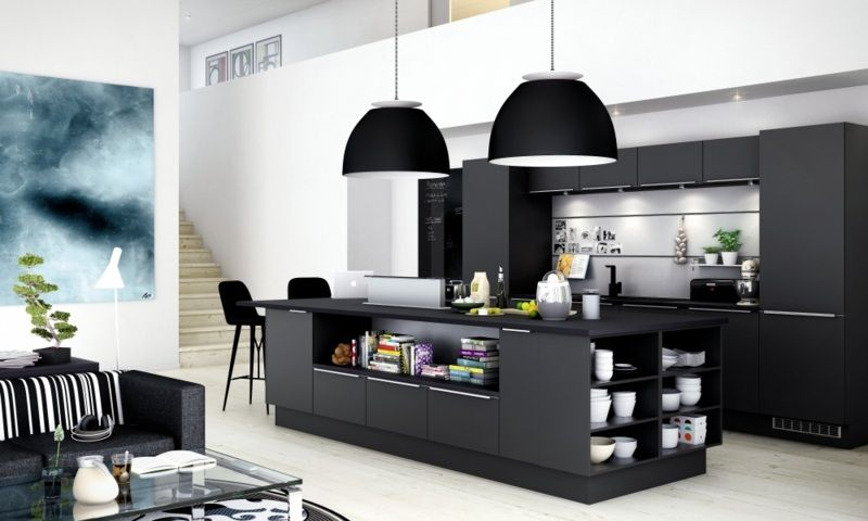 schwarze k che mit regalen in der kochinsel k chen pinterest black kitchens black kitchen. Black Bedroom Furniture Sets. Home Design Ideas