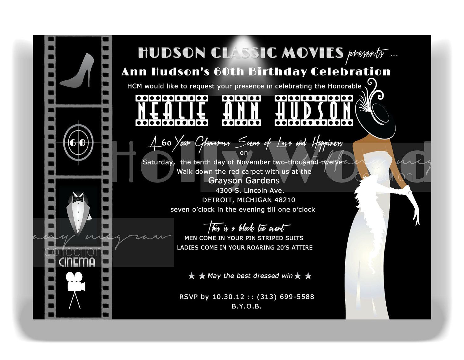 old hollywood invite - love the lady | Events & Activities ...