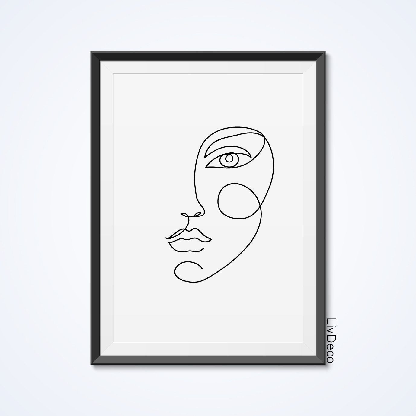 Black And White Wall Artideas: Woman Face One Line Drawing Abstract Simple Minimalist Art