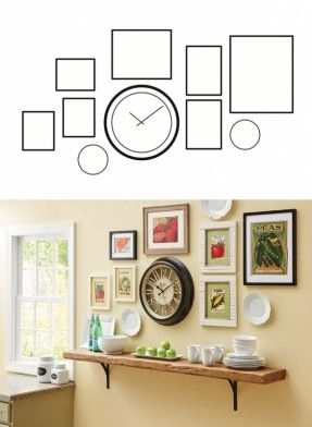 Gallery Wall With Clock Google Search Kitchen Gallery Wall Dining Room Walls Gallery Wall