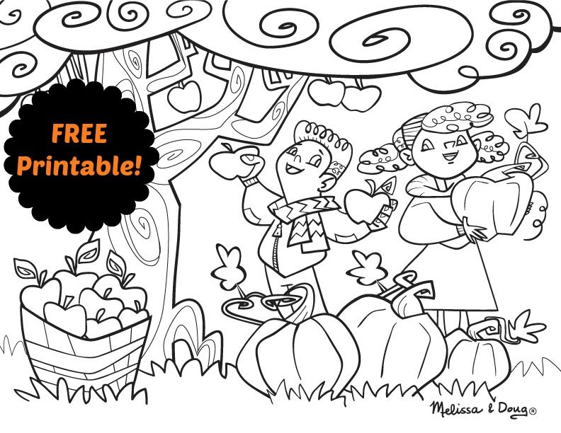 Apple And Pumpkin Picking Coloring Page Free Download