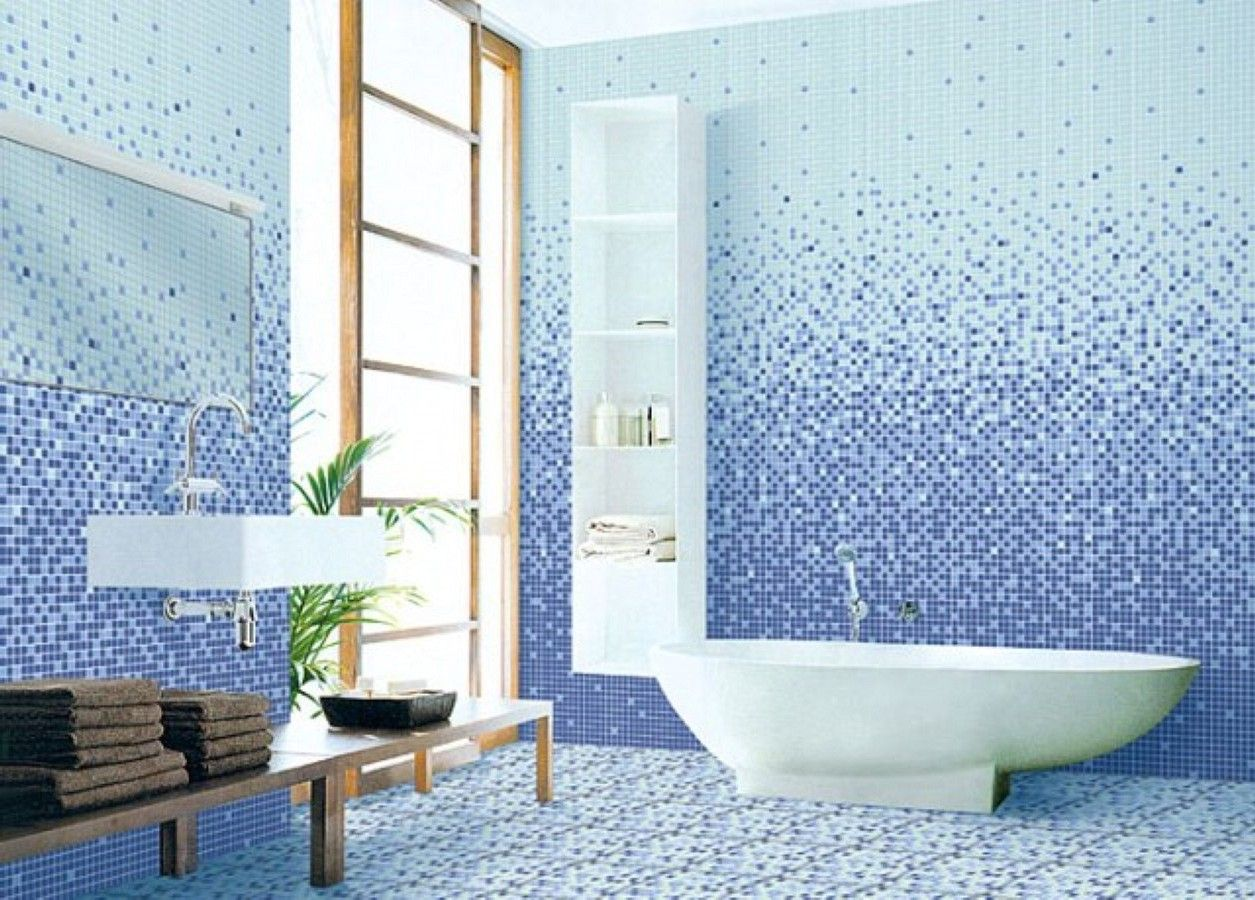 White And Blue Ceramic Tiled Wall Tile Shower And Tub Ideas Modern ...