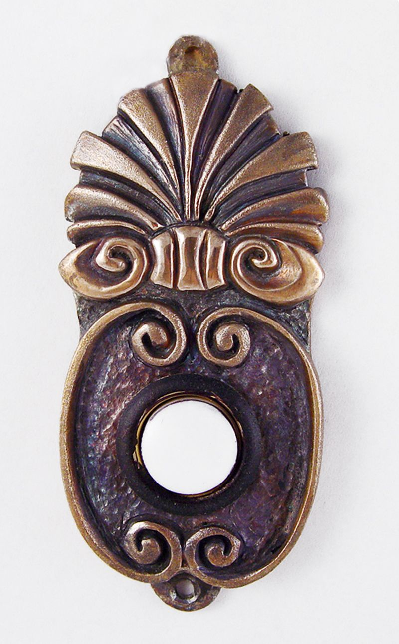 The bronze casting of the doorbell. This doorbell won an Architect award.