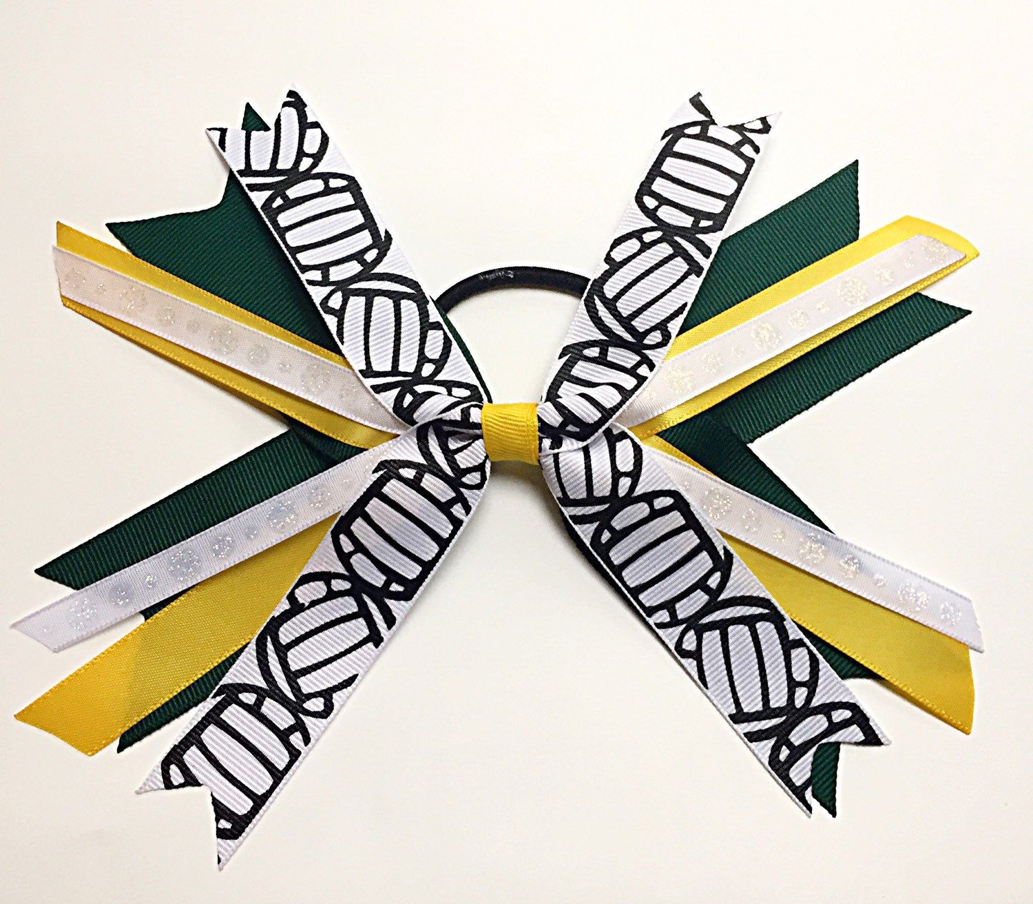 Custom Green And Gold Yellow Volleyball Hair Bows Dark Green And Yellow Gold Volleyball Hair Ties Volleyball Hairstyles Volleyball Ribbon Volleyball Hair Bows