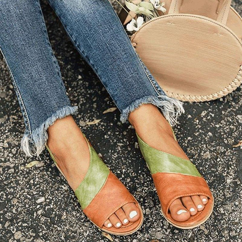 6f0d3a385 Women Daily Low Heel Panel Sandals – shecici