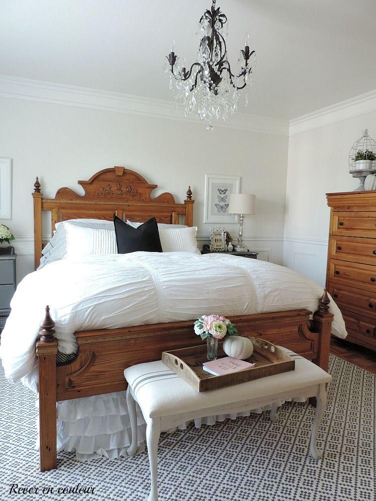 Bon Décoration De Style Farmhouse Dans La Chambre à Coucher, Chambre Des Maîtres  En Gris Et Blanc