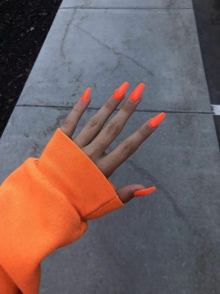 30 Fancy Coffin Acrylic Nails For 2020 Page 32 Of 99 Orange Acrylic Nails Nail Designs Summer Acrylic Neon Nails