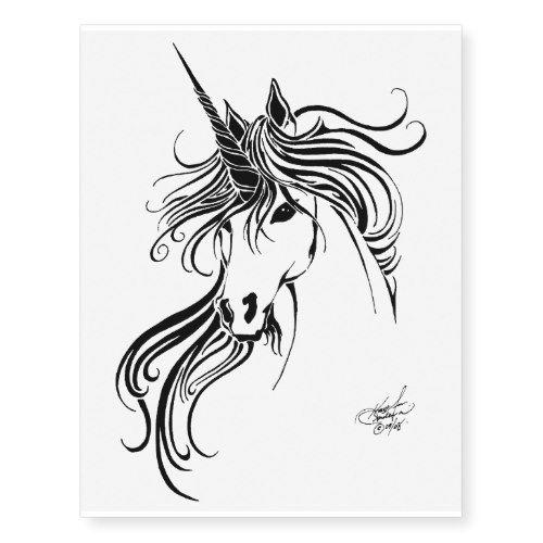 Tribal Unicorn Temporary Tattoos Zazzle Com In 2020 Unicorn Tattoos Unicorn Tattoo Designs Unicorn Art