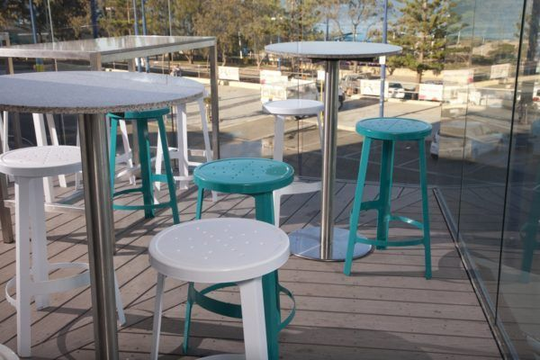 Scarborough Beach Bar Furniture Options Powdercoat Steel Tripod Stools With Granite High Top Tables