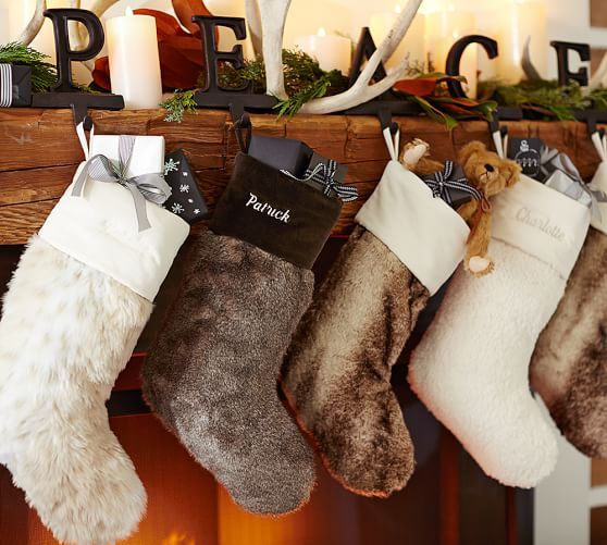 Personalized Faux Fur Stockings Alpaca Christmas