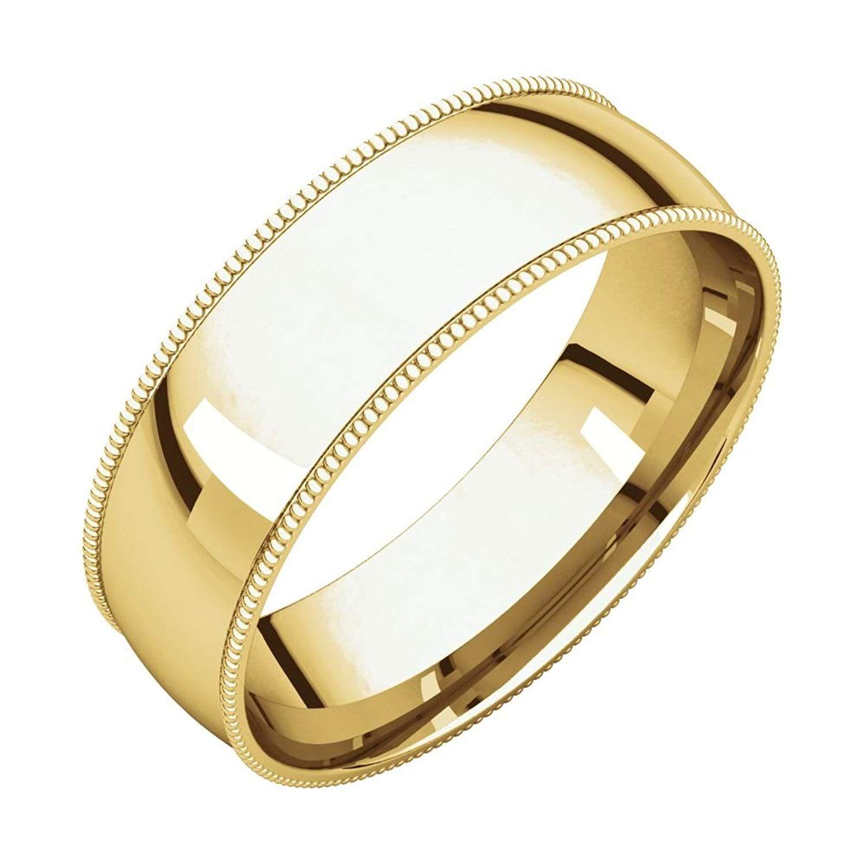 Bonyak Jewelry 14k Yellow Gold 6mm Milgrain Lightweight