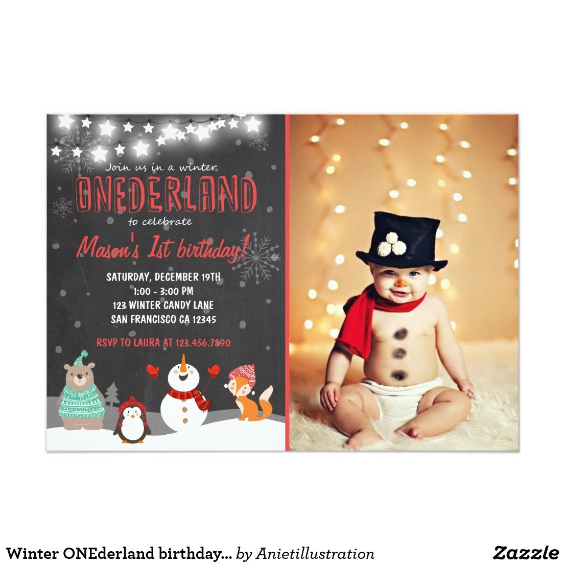 Winter ONEderland birthday party invitation red ♥ A perfect way to ...