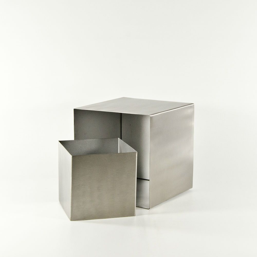 Silver Stainless Steel Metal Cube Dimensions Small 4 1