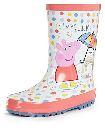 Peppa Pig Wellies Flower Girl/'s Easy-On Handles Pink Blue Rain Welly Boots