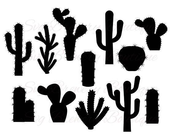 Cactus Silhouettes Cactus Silhouette Silhouette Stencil Sillouette Art