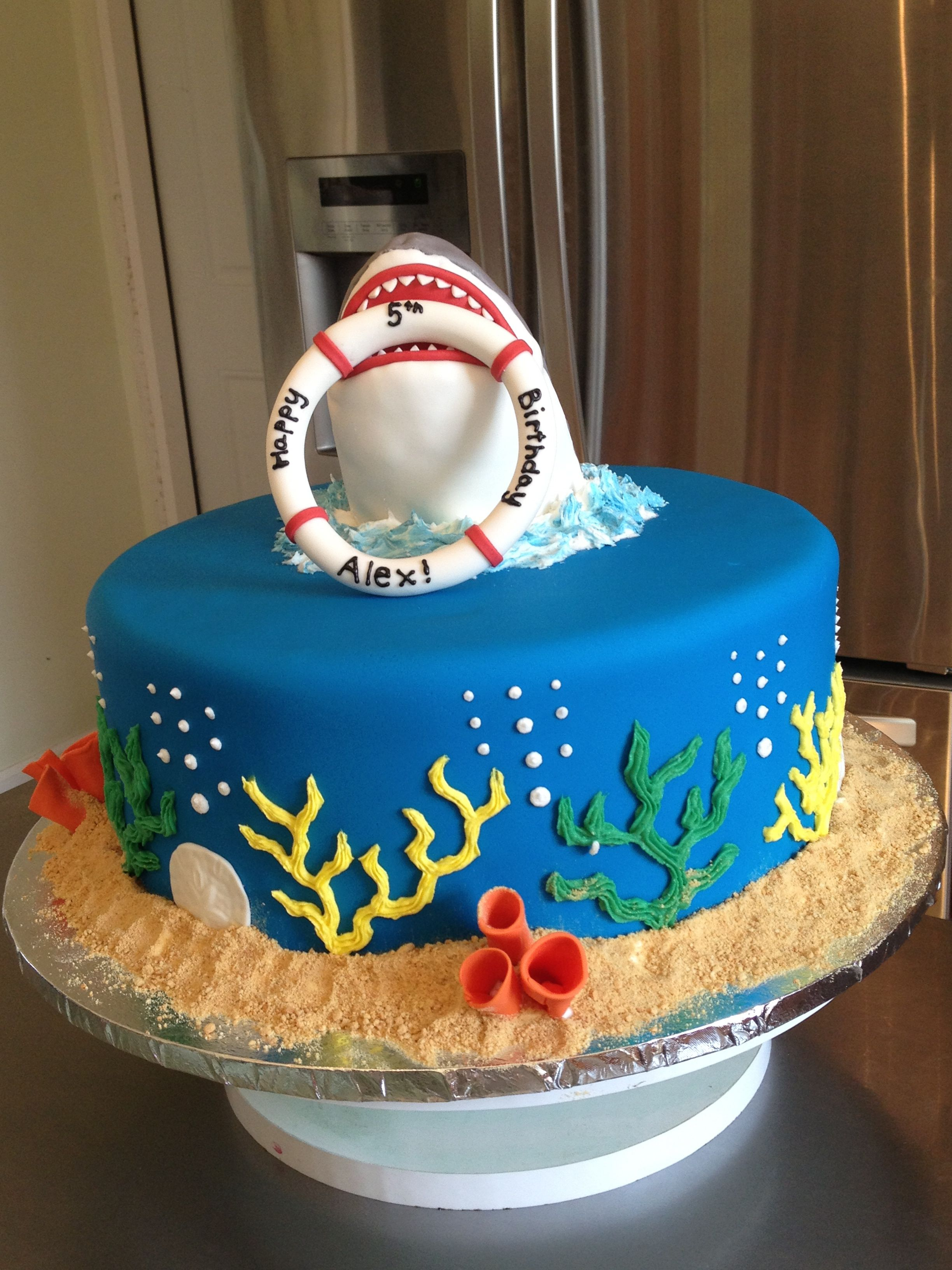Pleasing Shark Cake With Images Shark Birthday Cakes Ocean Birthday Personalised Birthday Cards Sponlily Jamesorg