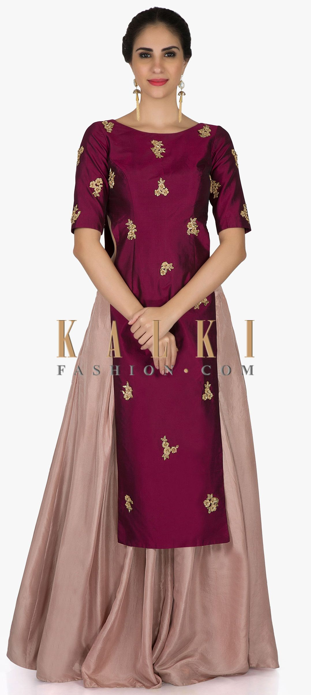 77d46f5021 Burgundy straight top in french knot embroidered butti with peach palazzo  only on Kalki