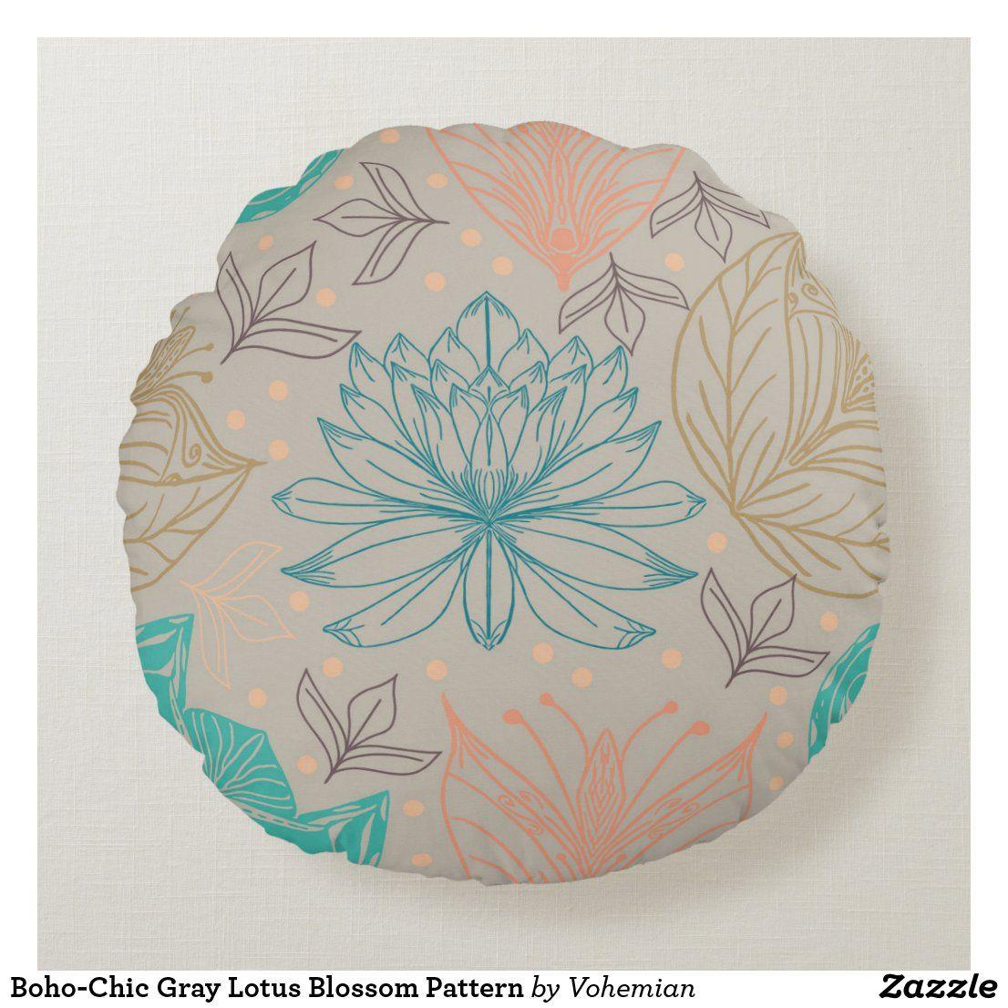 Boho-Chic Gray Lotus Blossom Pattern Round Pillow
