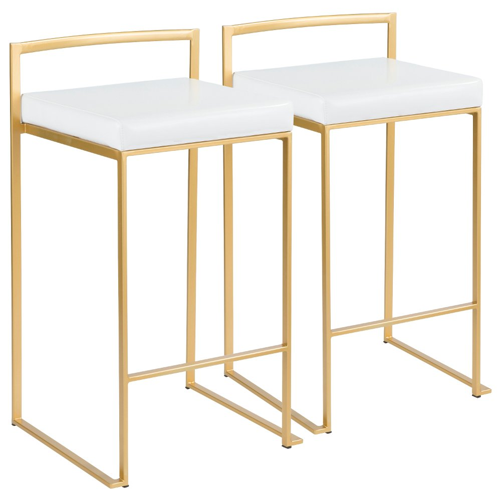 Modern White And Gold Counter Height Stool Fuji In 2020