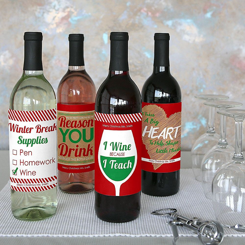 Teacher Christmas Wine Bottle Labels Holiday Amp Christmas Gifts For Teachers Set Of 4 Bigdotofh Holiday Wine Bottles Wine Bottle Teacher Wine Bottle
