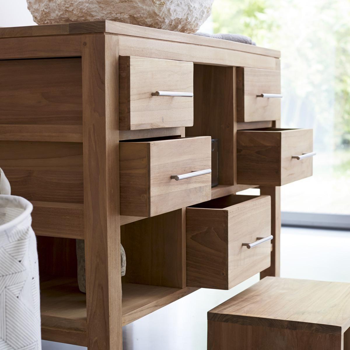 Bad Waschtisch Unterschrank Holz ~ Waschtisch Waschbecken Unterschrank  Massiv Holz Teak Bad Neu 3