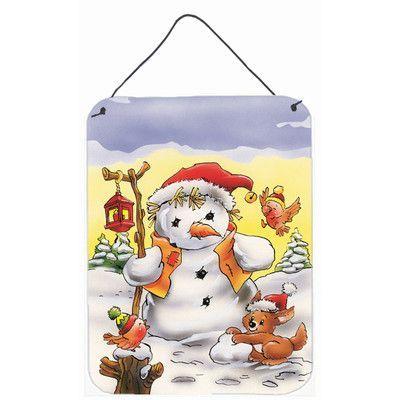 Caroline's Treasures Scarecrow Snowman Graphic Art Plaque