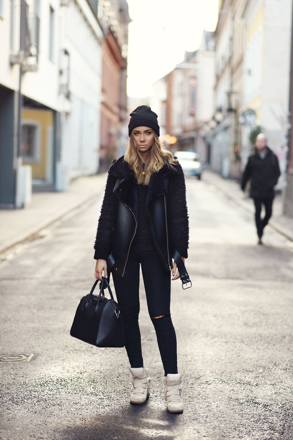 Lisa Olsson - Sweater, LXL. Beanie, H&M. Necklace, Jane Kønig. Bag, Givenchy. Vest, LXL. Shoes, Isabel Marant. http://FashionCognoscente.blogspot.com