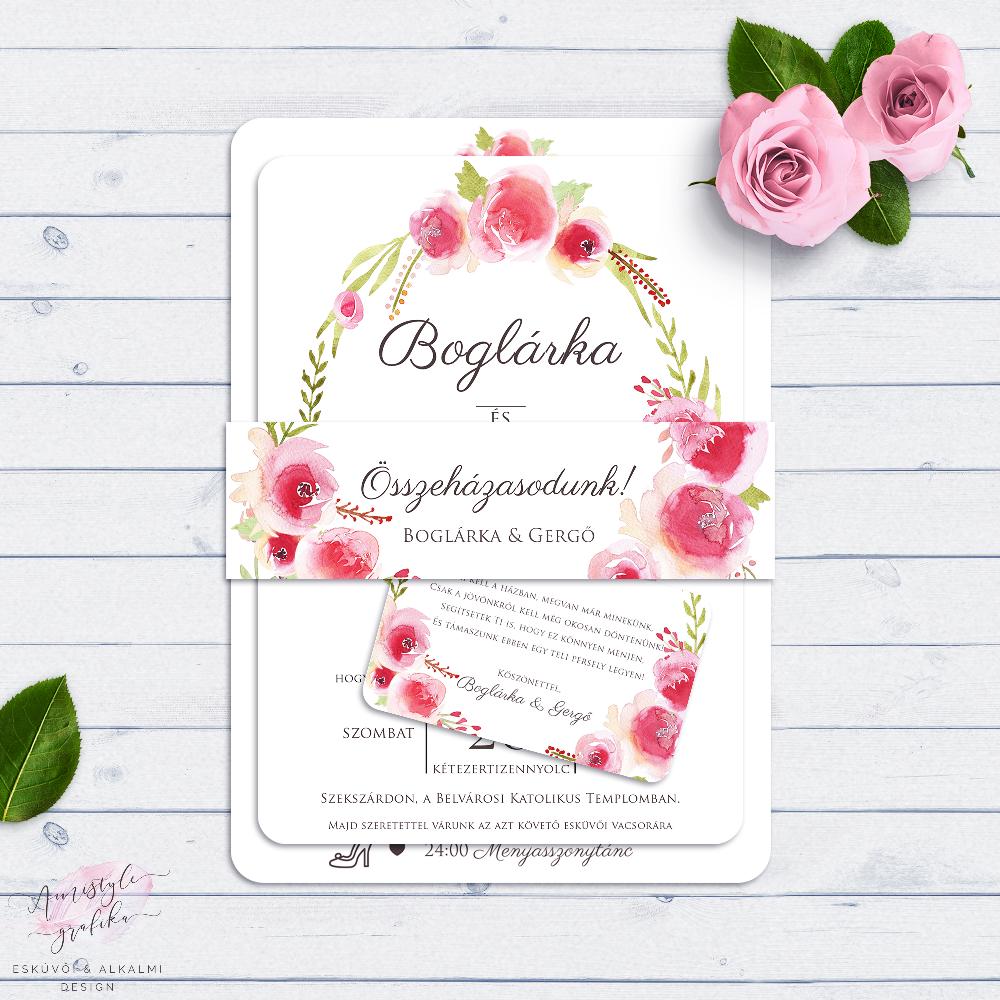 a177a701ab Akvarell Virágkoszorús Esküvői Meghívó Szett - Esküvői Meghívó, Alkalmi és  Családi Grafika Webáruház
