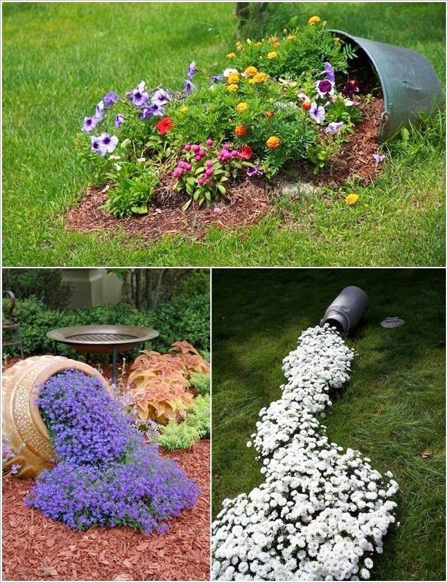 Cool Spilled Flower Beds. Clever Clever! And great way to use broken pots!