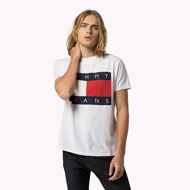 hilfiger denim flag t shirt classic white white. Black Bedroom Furniture Sets. Home Design Ideas