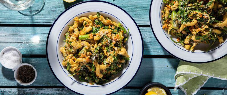 Carrot Pesto Cavatappi with Arugula & Asparagus Recipe