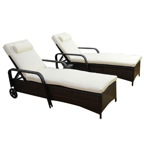 Outsunny Garden Rattan Furniture 3 PC Sun Lounger Recliner Bed Chair ...
