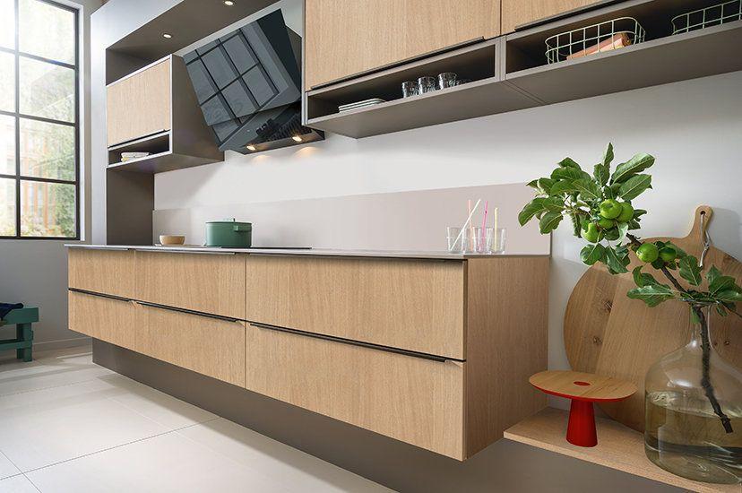 Cuisine Ilot Sur Mesure Moderne Et Bois Ambiance Loft Meuble Bas Suspendu Home Staging Cuisine Meuble Bas Valorisation Immobiliere