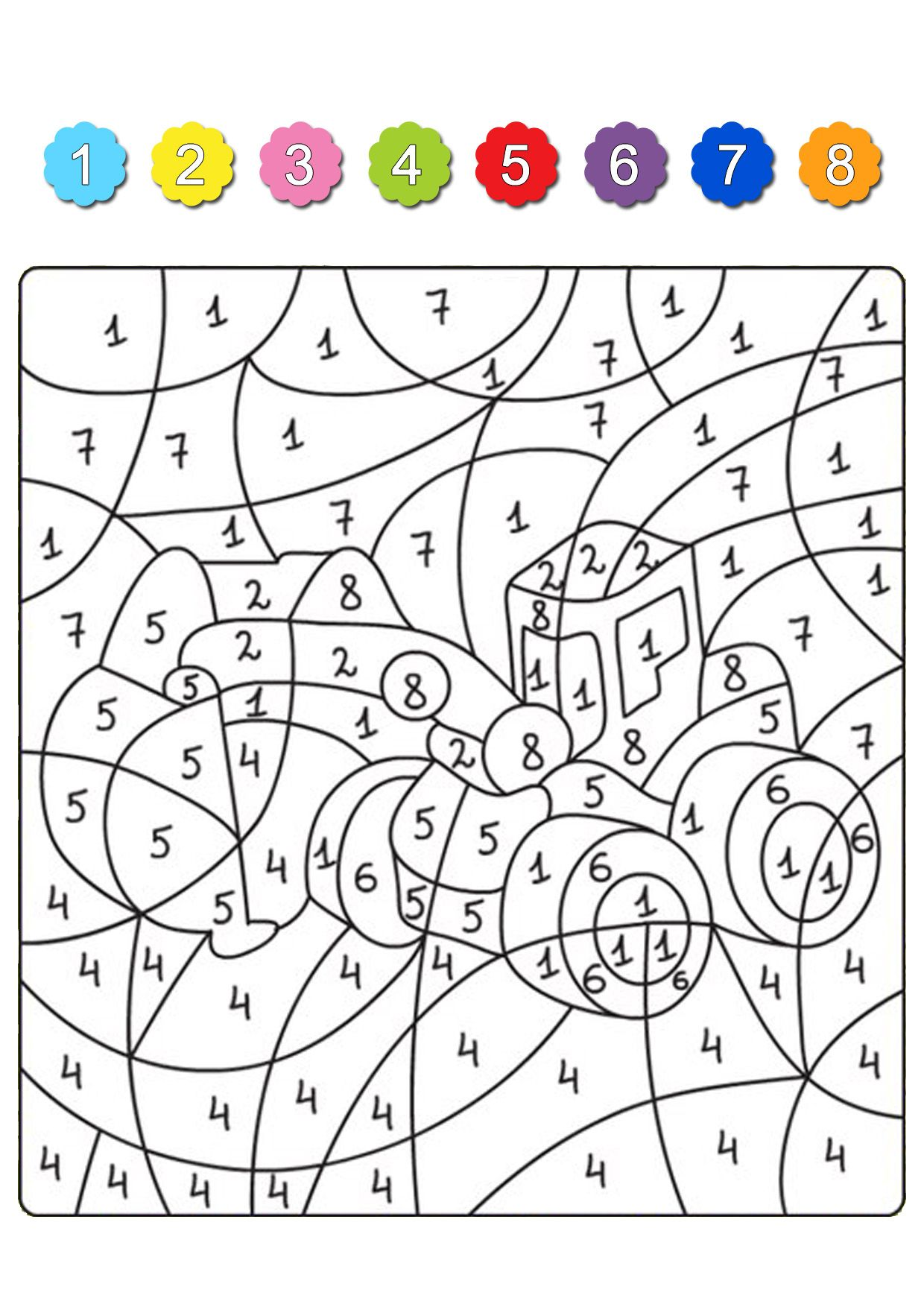 Раскрась по цифрам. Наземный транспорт | Math for kids ...