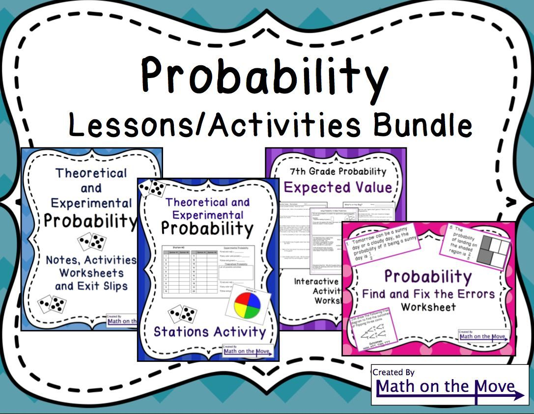 7th Grade Probability Bundle Notes Activities And Assessments Probability Worksheets Math Worksheets Probability Math