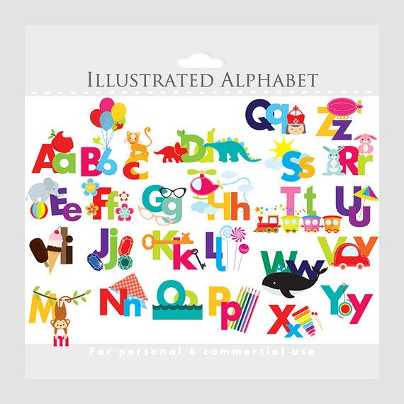 Alphabet Clipart  Illustrated Alphabet Teaching Clip Art For