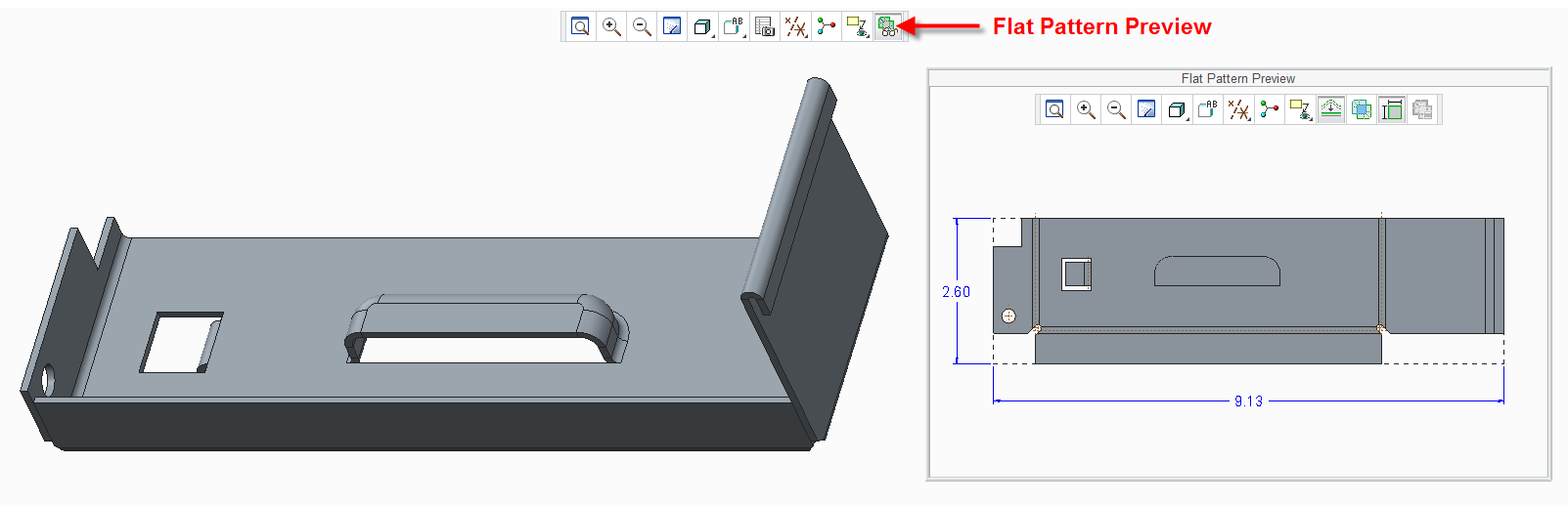 Sheetmetal Flat Pattern Preview Window In Creo Parametric Flats Patterns Pattern Parametric